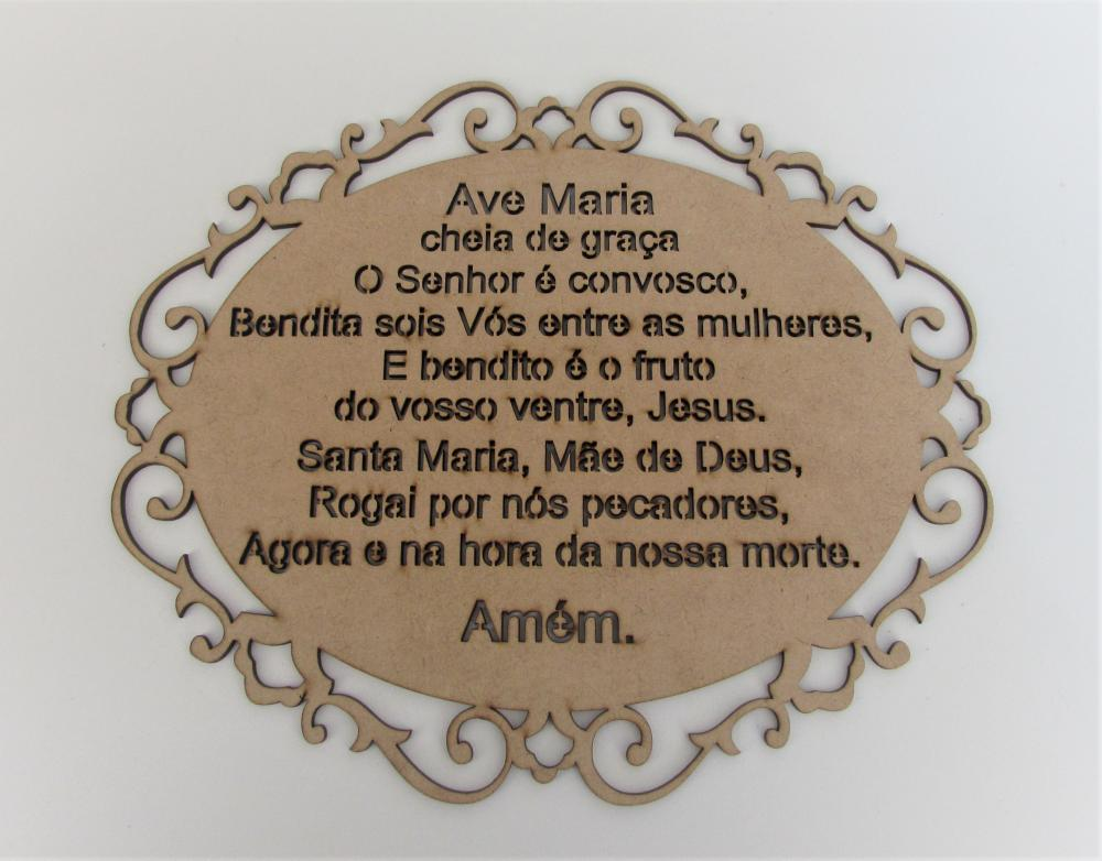 89885 - PLACA AVE MARIA OVAL 26X32 MDF 3MM